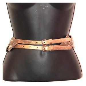 Accessories - Gold with Silver Embellishments Double Strap Belt